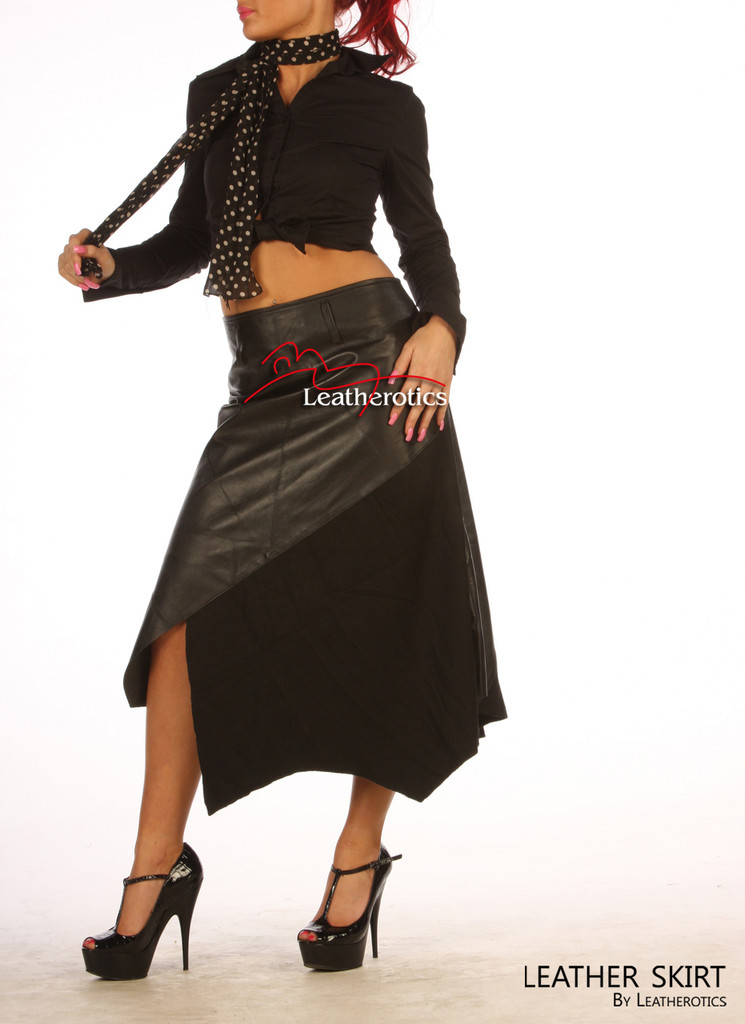 Gorgeous Real Leather Skirt With Wool Panels