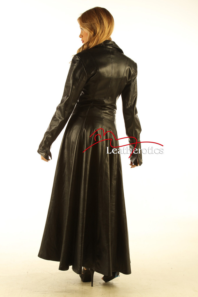 Ladies Black Leather Full Length Dress Coat Burlesque Alternative Clothing image 2