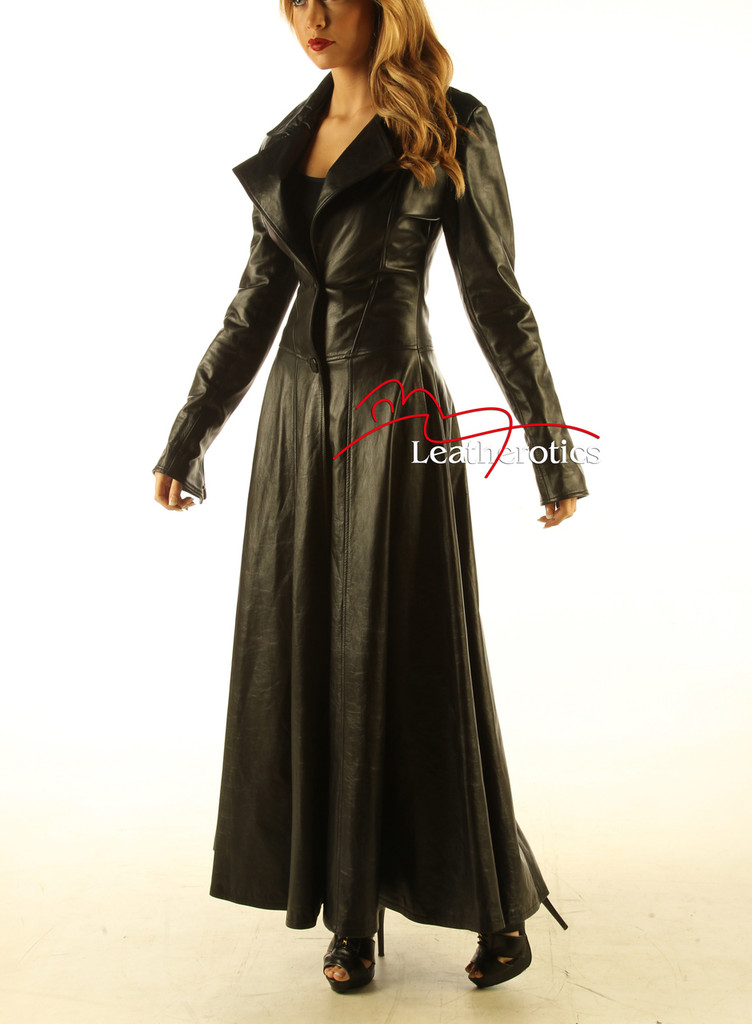 Ladies Black Leather Full Length Dress Coat Burlesque Alternative Clothing image 3