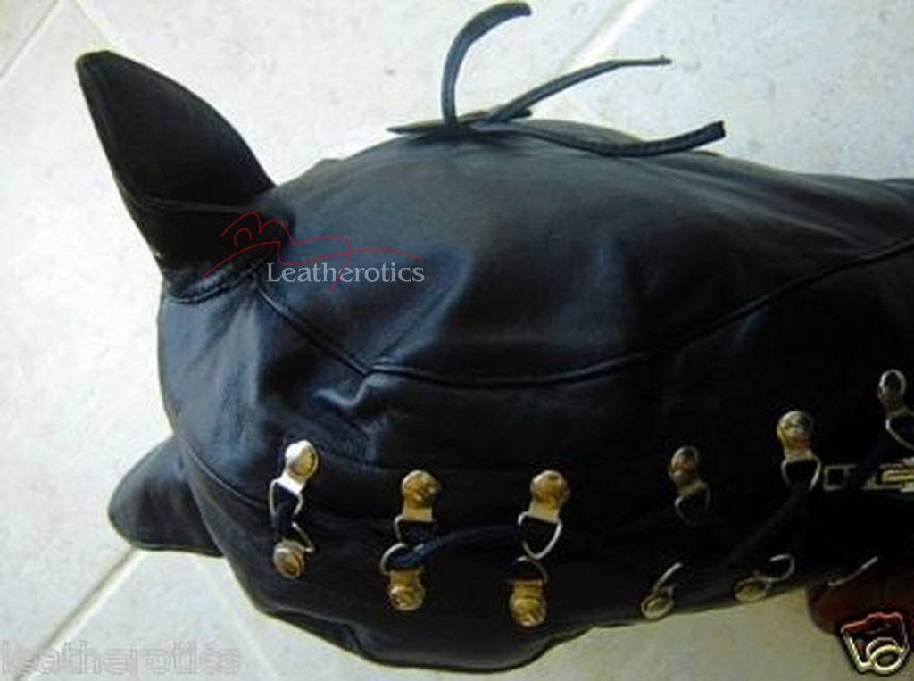 Leather cat mask full face to neck