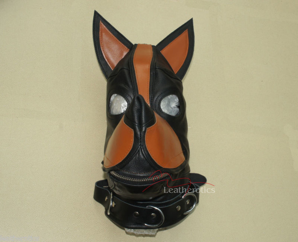 Bdsm leather dog hood mask pic 2