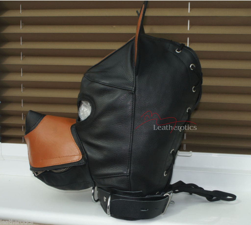Bdsm leather dog mask pic 3