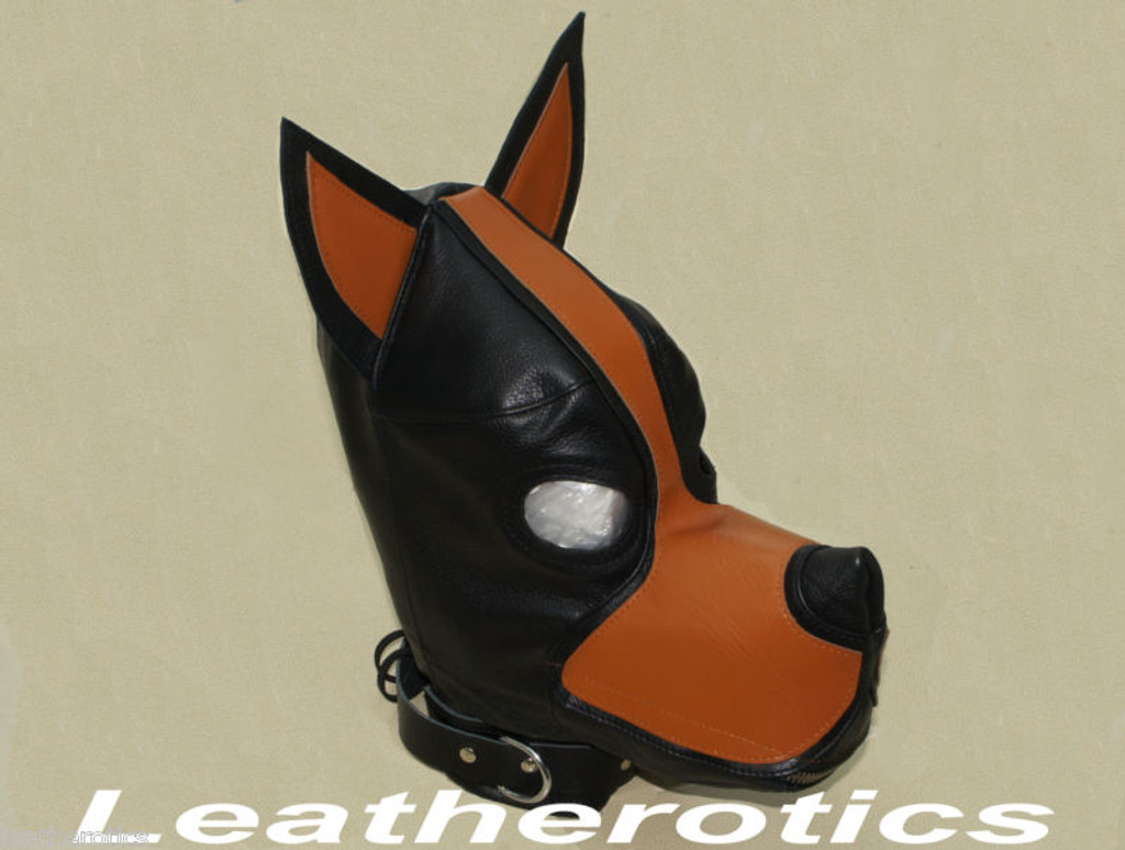 Bdsm leather dog mask pic 1