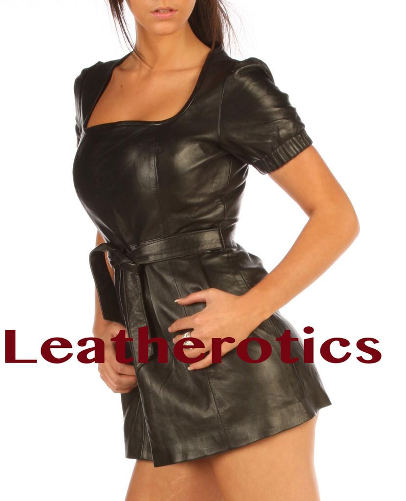 Leather Mini fetish Dress puffy hip length side
