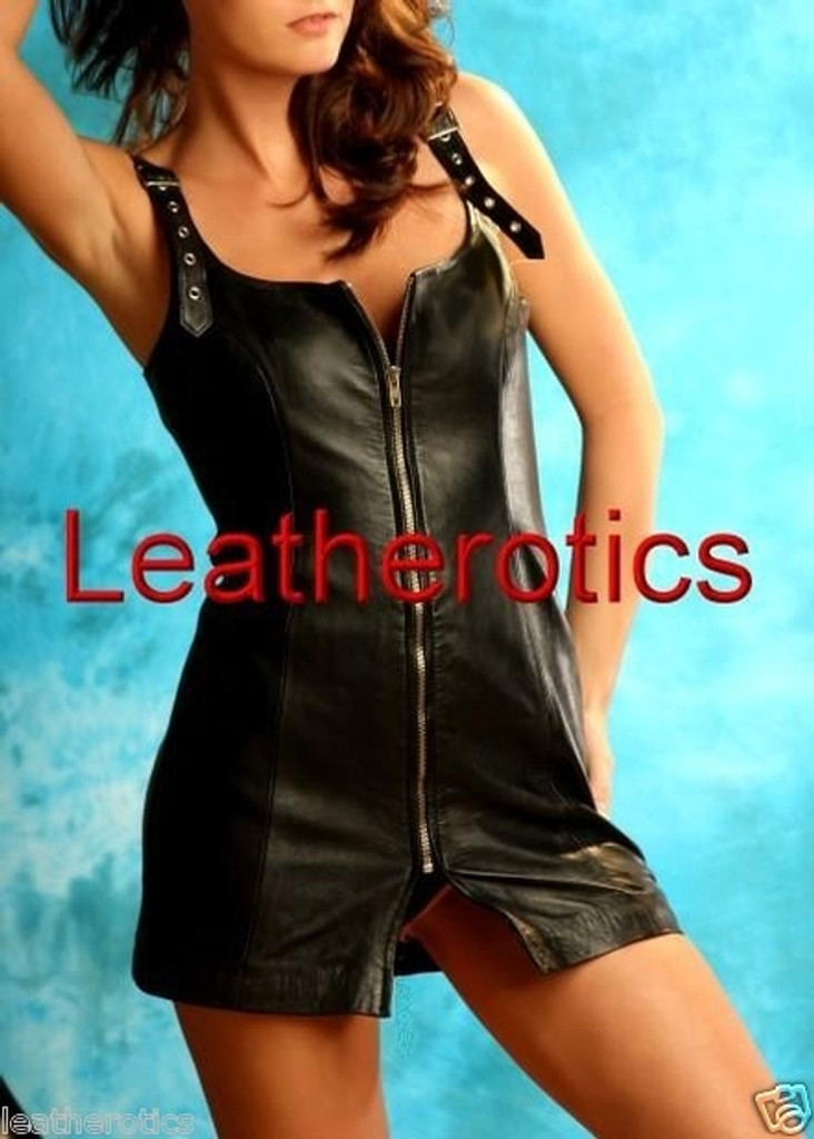Leather Mini Fetish party evening Dress front