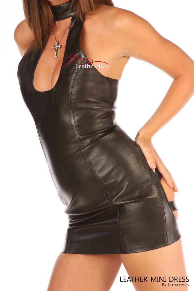 Leather Mini Dress Spanking teasing Sexy Top image 2