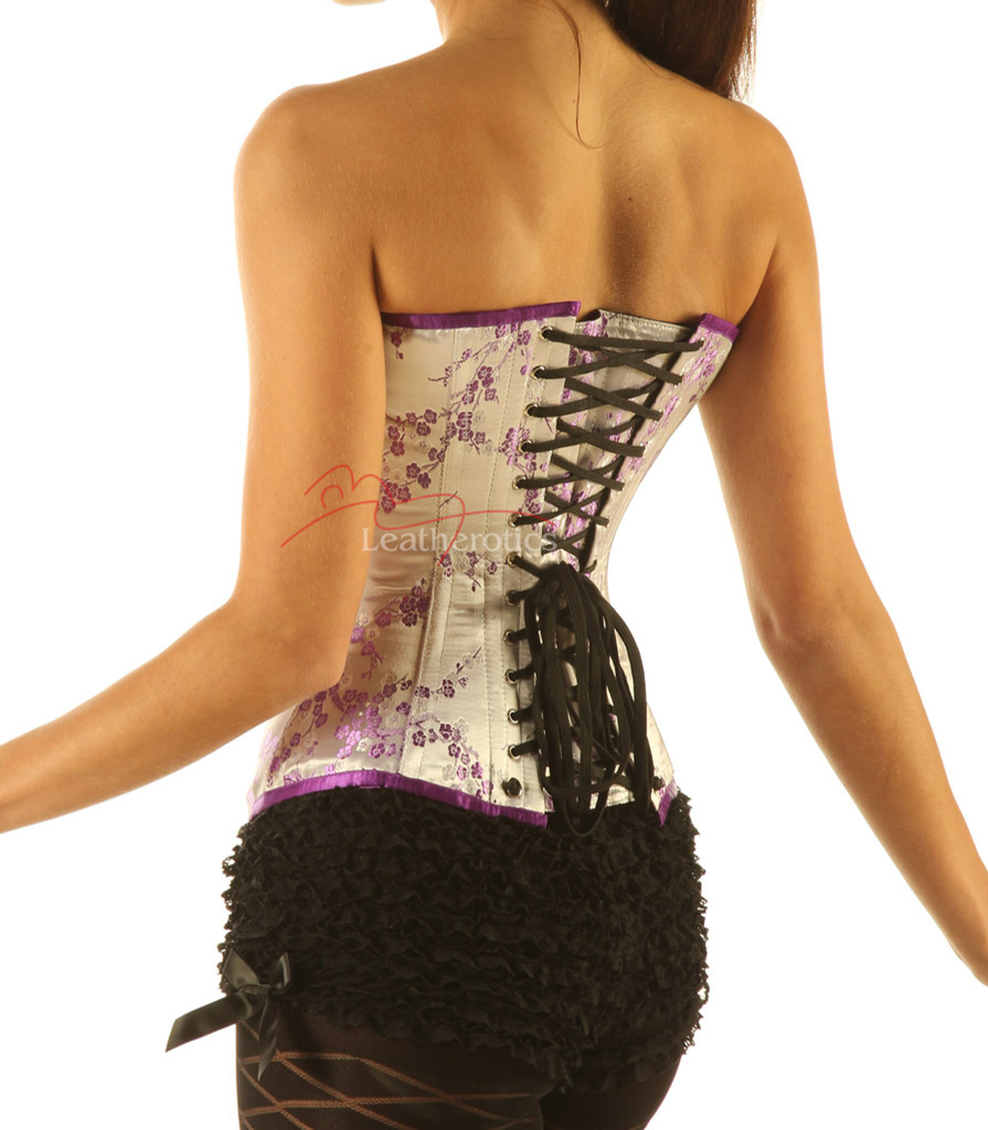 Lilac Silk Steel Boned Corset Basque Korsett Cherry blossom back view