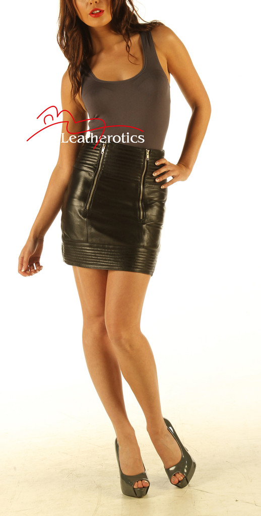 Luxury 100% Real Leather Skirt Sexy Tight Fit front view