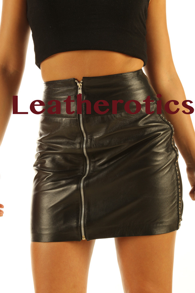 Luxury Leather Skirt  in black colour pic 3 size 12 14 16 18