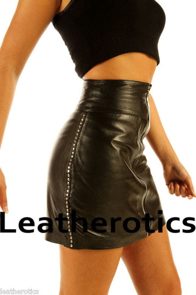 Luxury Leather Skirt  in black colour pic 1 size 12 14 16 18