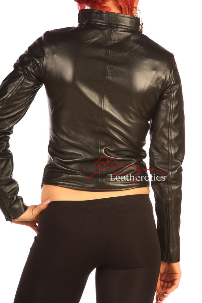 Women's Black Leather Dress Shirt Top BG9 back
