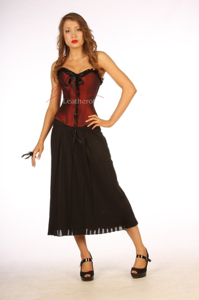 maroon overbust corset