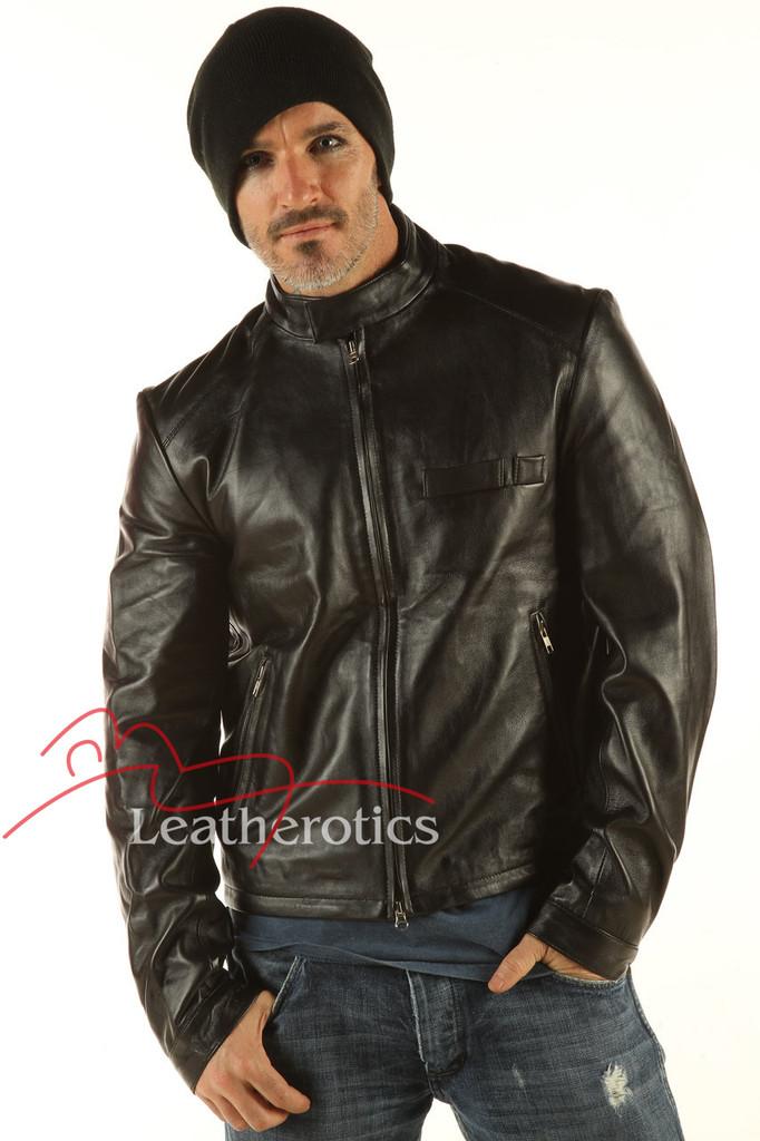 Men's Real Leather Detailed Jacket Goat Skin image 2