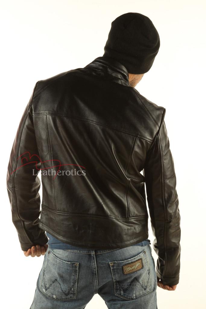 Men's Real Leather Detailed Jacket Goat Skin image 3