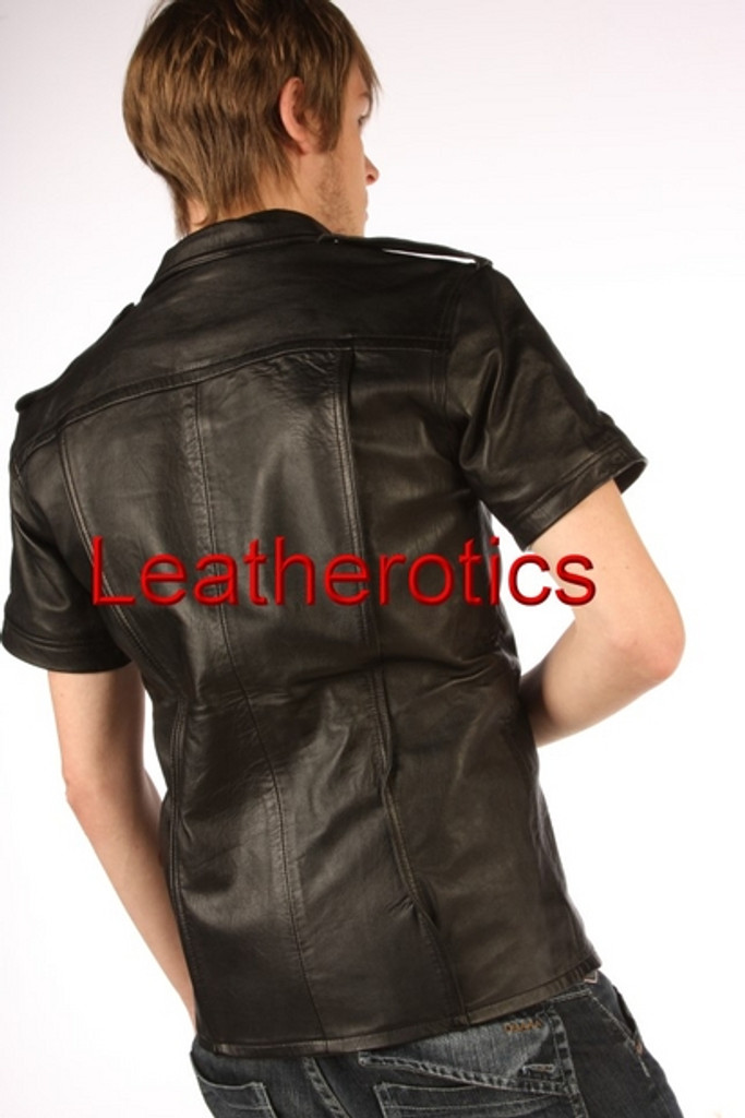 police uniform leather shirt