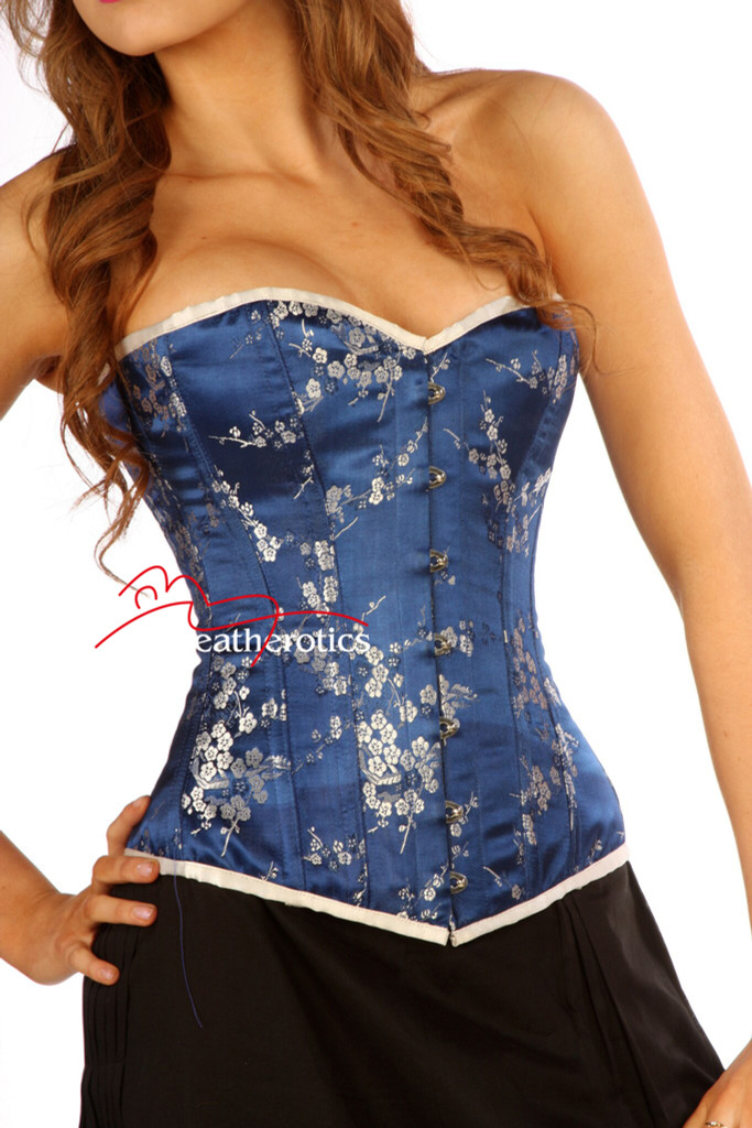 fully boned blue overbust corset