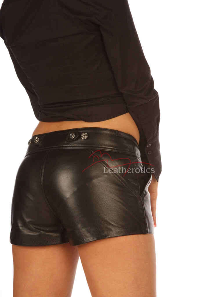 Sexy Leather Shorts with pockets 503 image 3