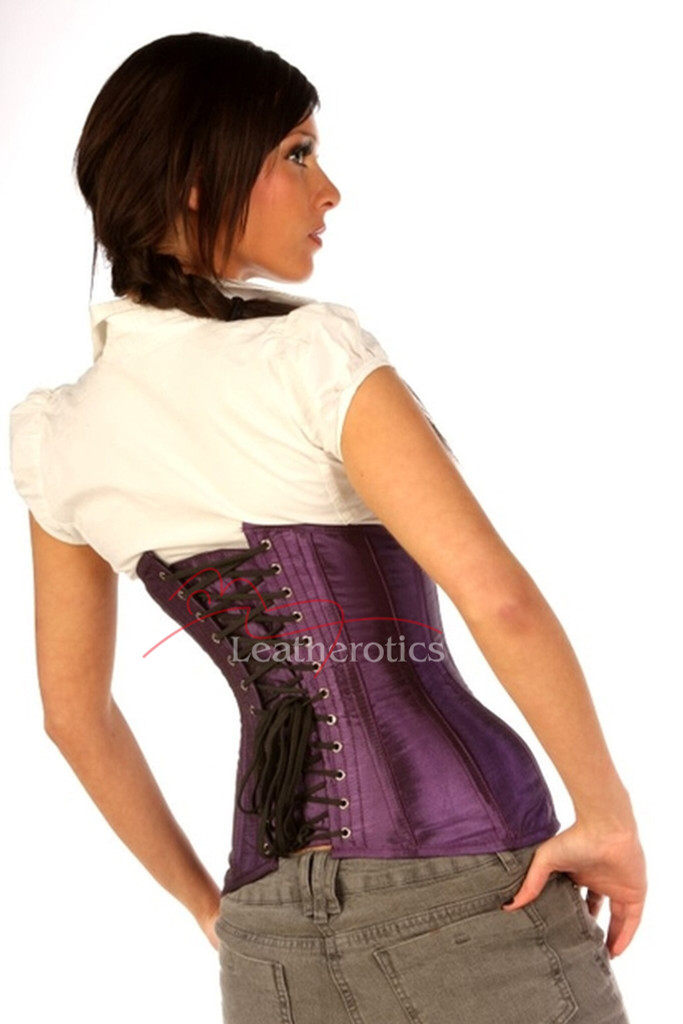 Steel Boned Hipster Corset Purple Taffeta Under Bust