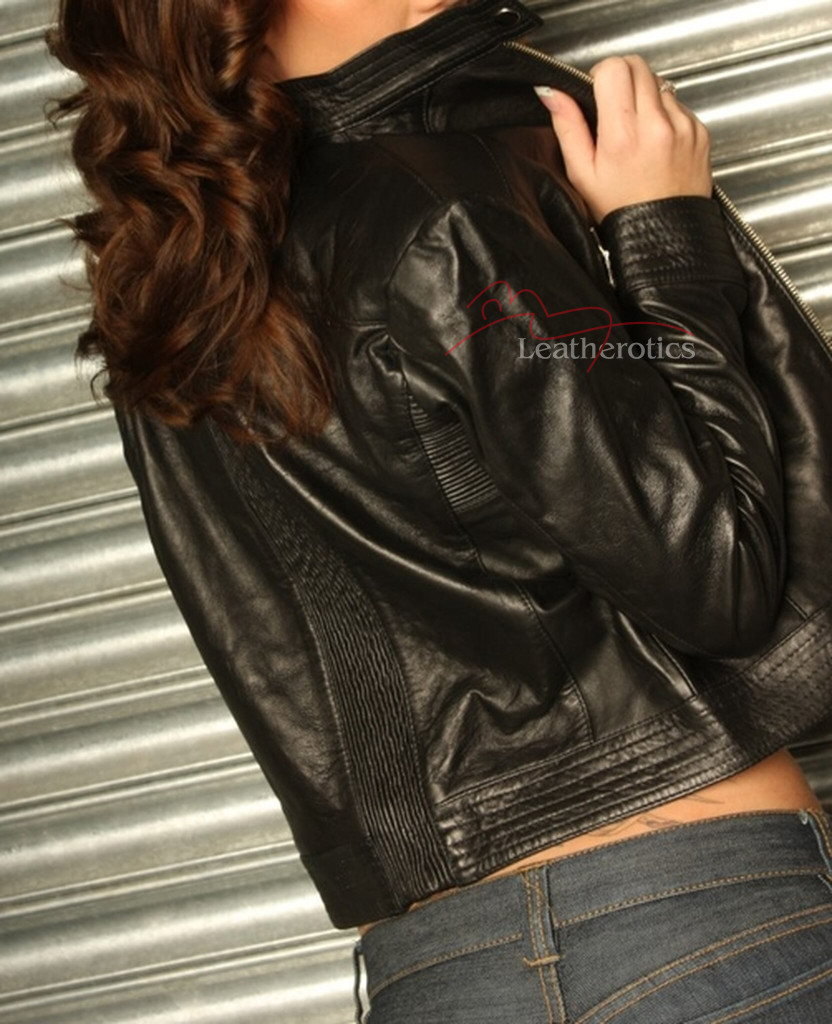 Real Leather Biker Style Jacket Stretch image 1