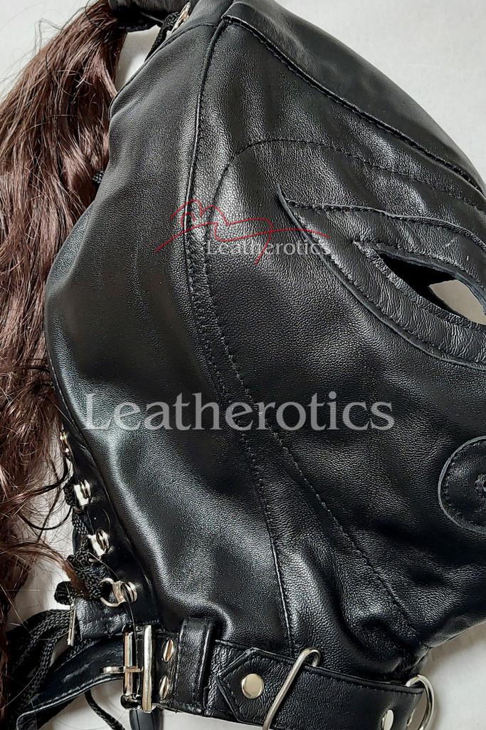black leather wig mask 2