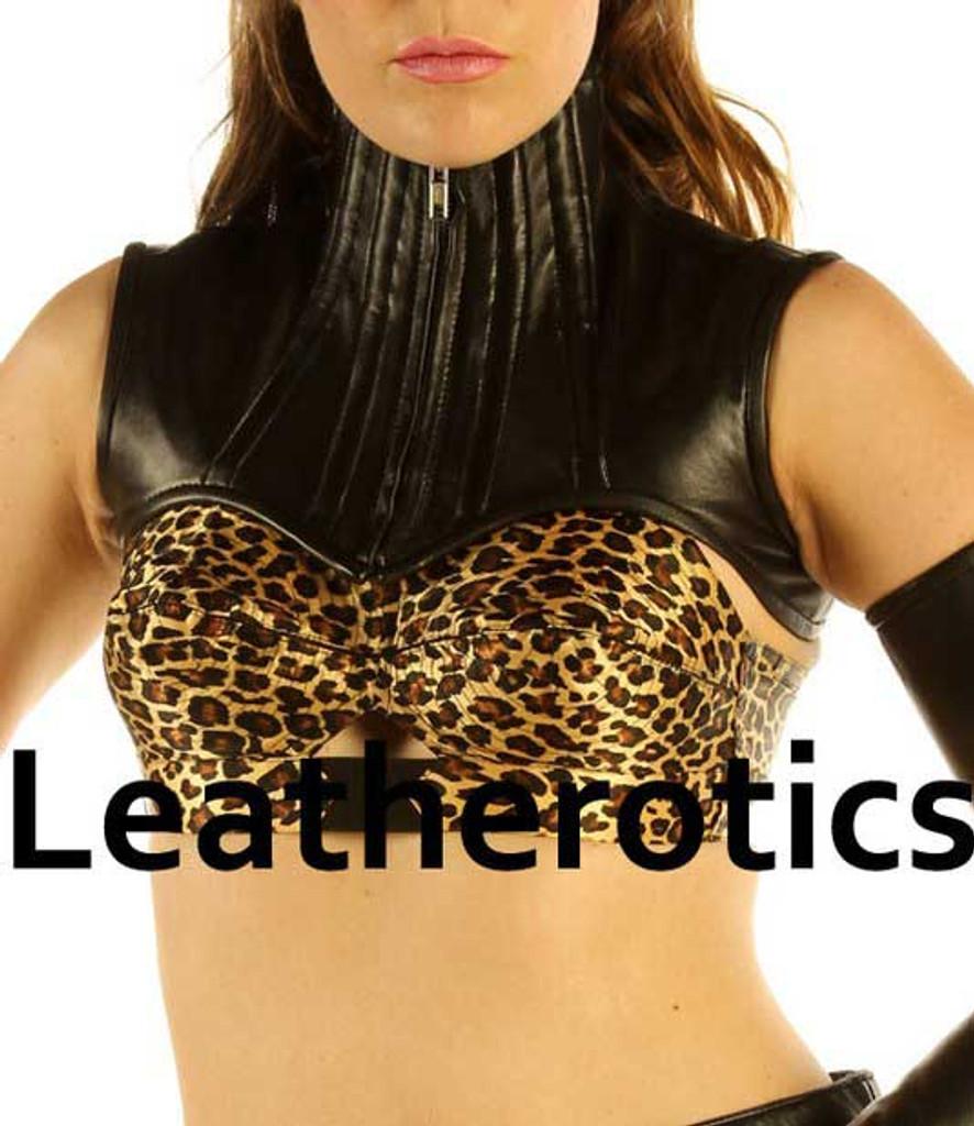 Real Leather Extreme Shoulder Corset Hals Korsett Harness Binder - front