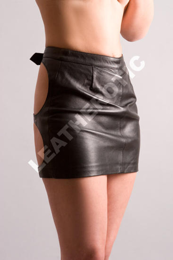 spanking leather skirt