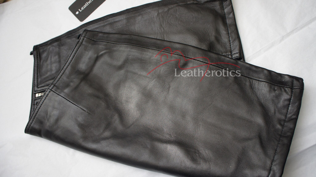 black leather front zipped mini skirt