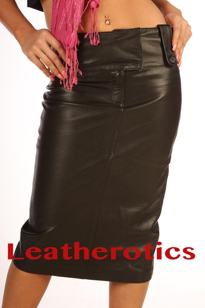 leather long pencil skirt model 5