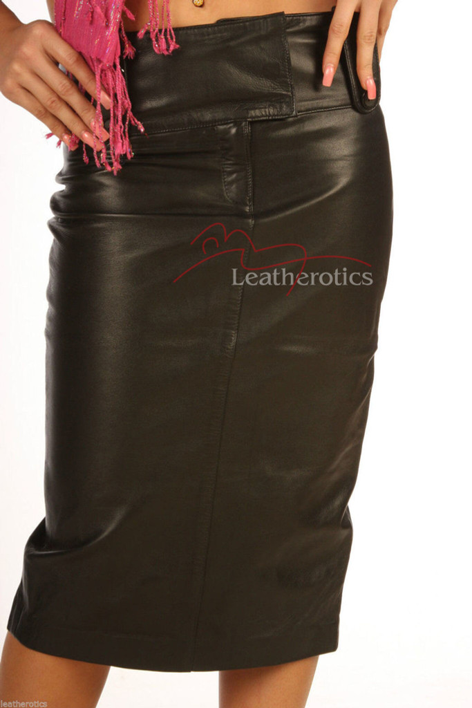 leather long pencil skirt model 3