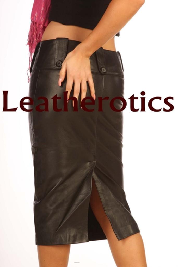 leather long pencil skirt model 4