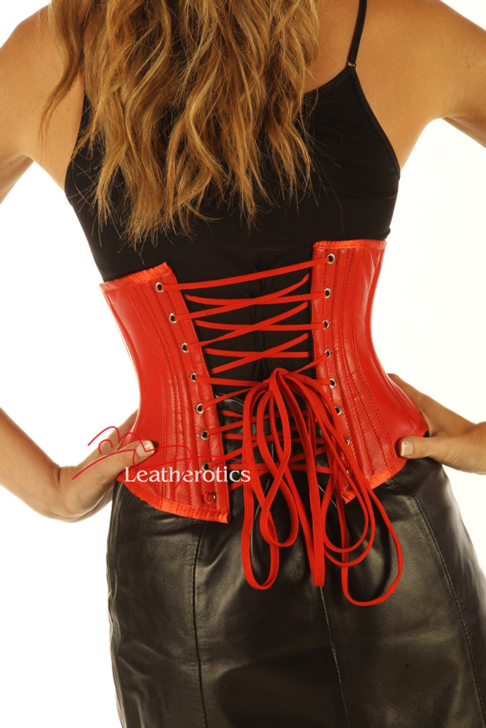 Red Under Bust Leather Corset Waist Trainer Shaper image 2