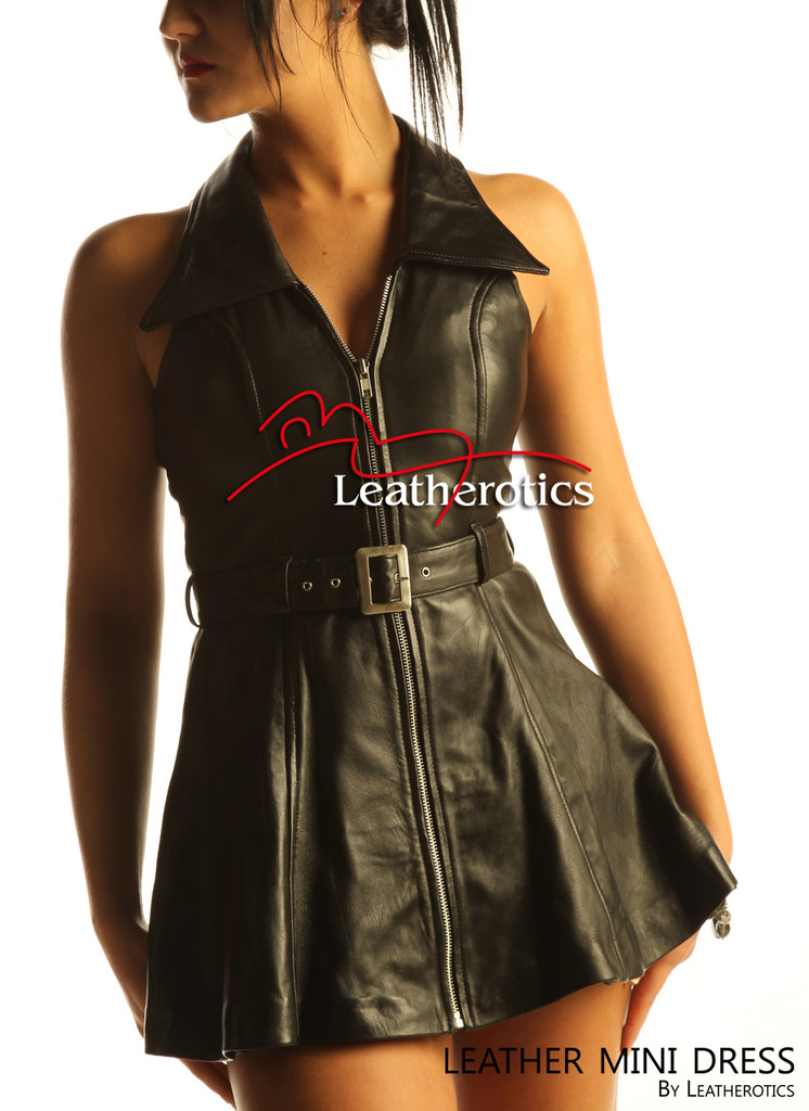 Sexy Black Leather Sleeveless Mini Dress Top MD78