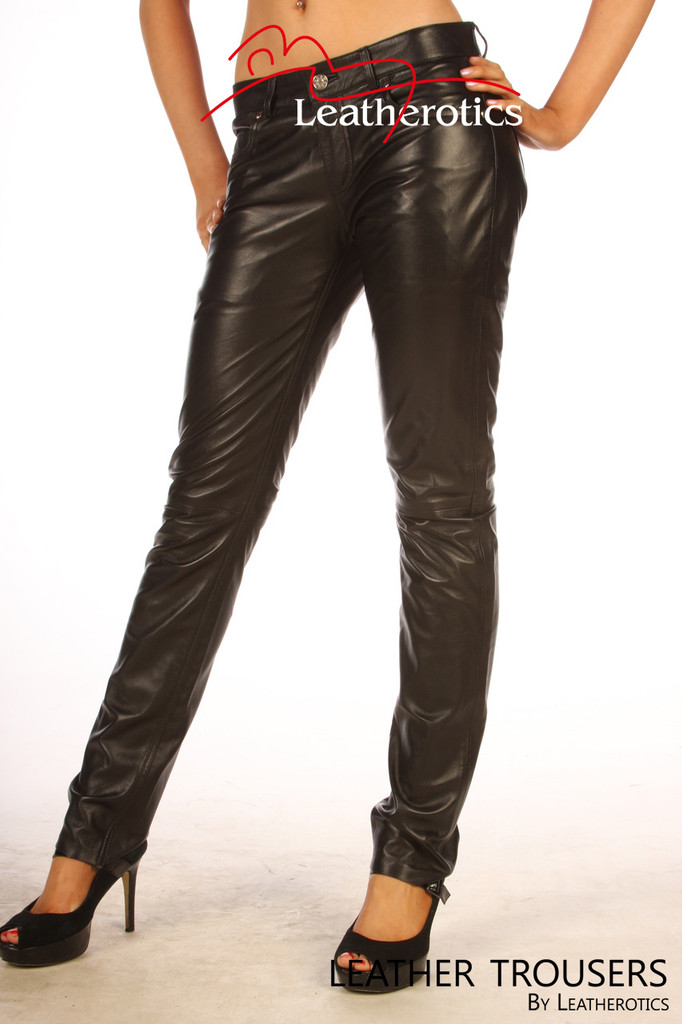 Womens Skinny Leather Jeans pants 5 pocket TR99  image 2