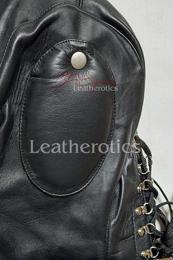 Leather sensory deprivation mask details