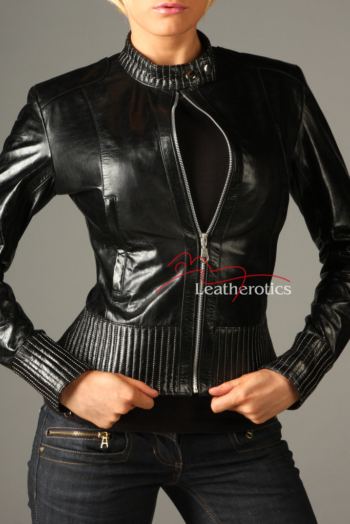 Vegetable Tanned Ladies Leather Jacket Soft Cotton Lined