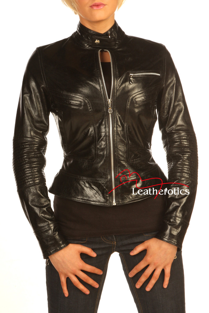 Vegetable Tanned Ladies Leather Jacket Soft Cotton Lined Style/J