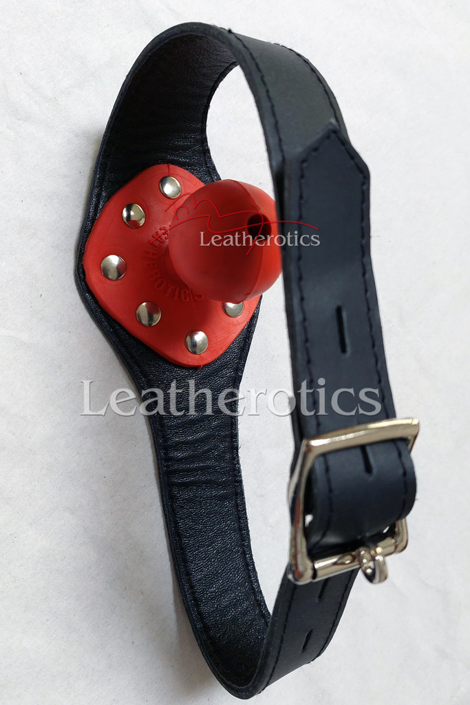 Leather bal gag in red colour 1