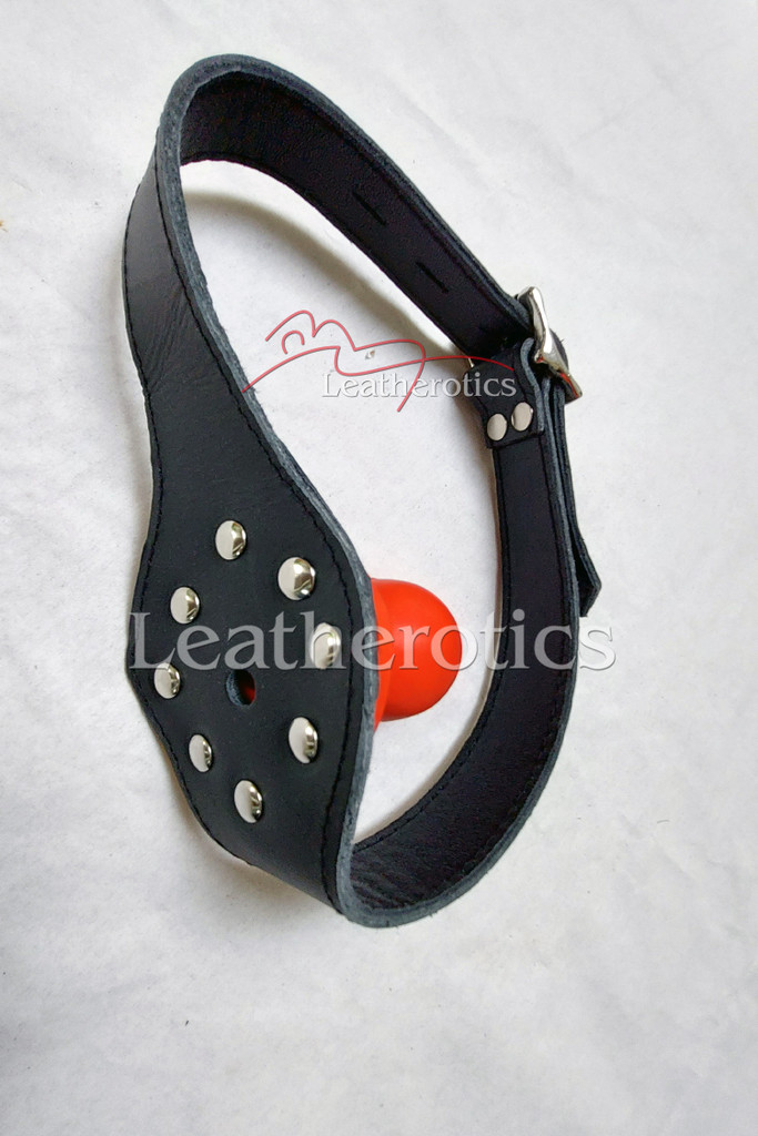 Leather bal gag in red colour 3