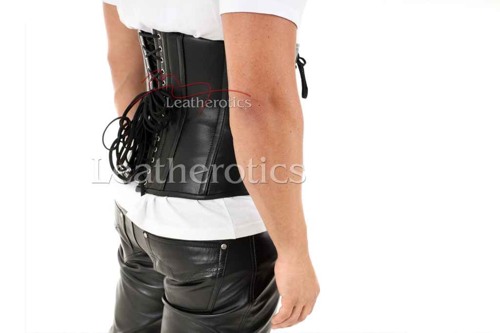 Men's Leather Buckled Under Bust Corset - back view