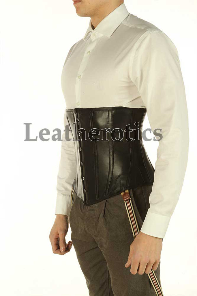 Black Underbust Leather Corset For Men Tight Lacing Steel Boned Top TGS TVS 1214M