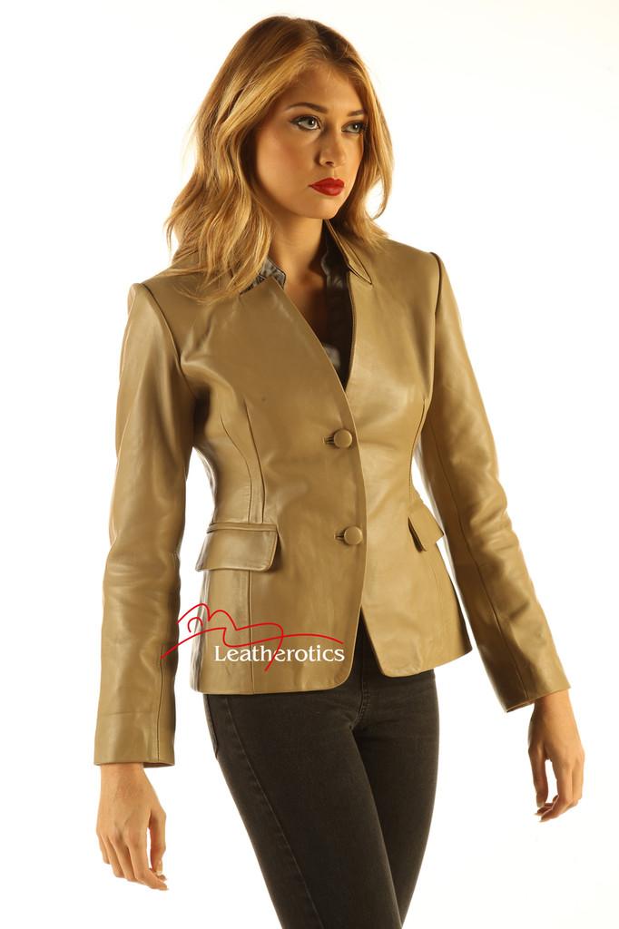 Ladies Tan Leather Blazer Jacket Classic Stylish Coat side view