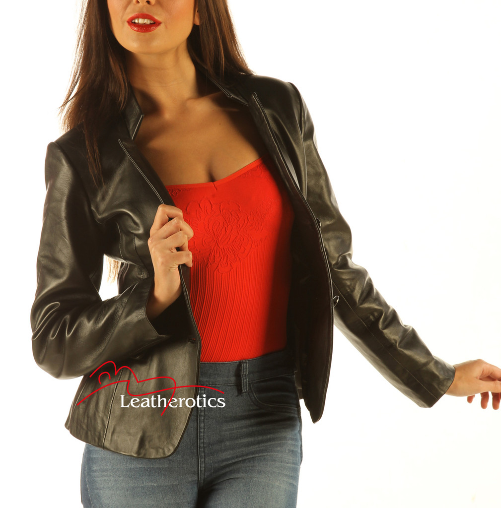 Ladies Leather Blazer Jacket Classic Coat front