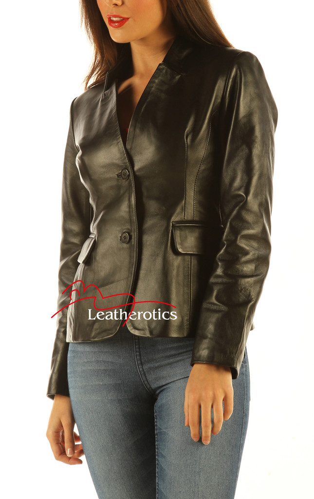 Ladies Leather Blazer Jacket Classic Coat side view 2