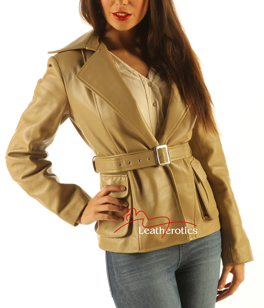 Ladies Belted Leather Jacket Top Tan Colour side view