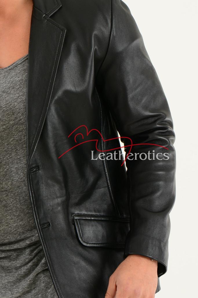 Men's Classic Fine Leather Blazer details