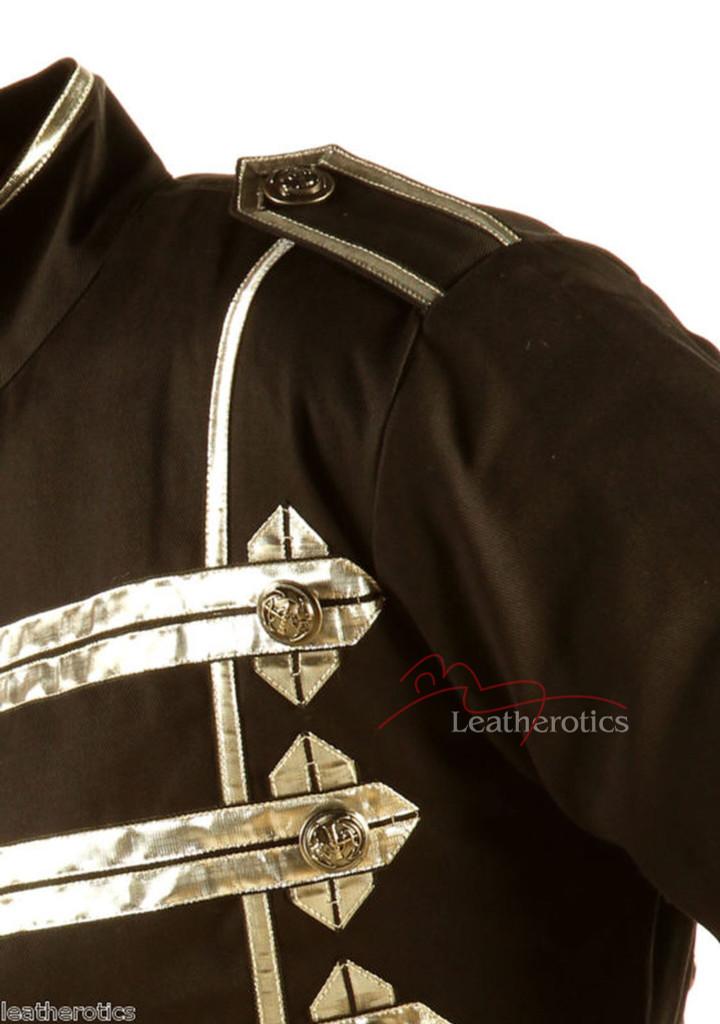 Men's Military Short Black Cotton Jacket Top zoom view