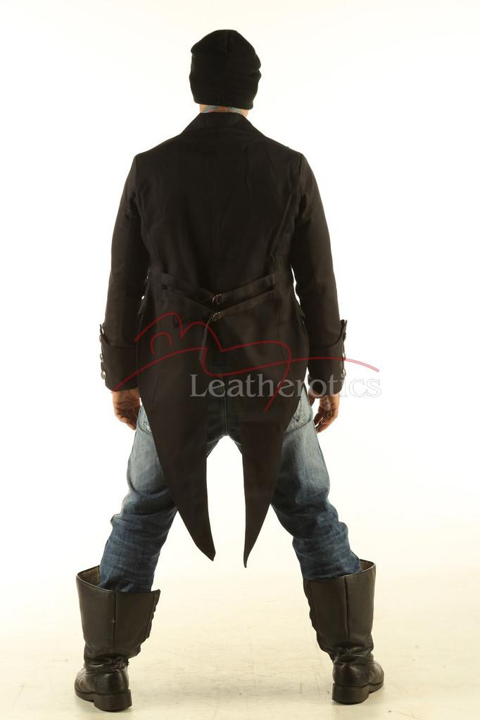 Men's Black Tailcoat Gothic Steampunk Jacket back view