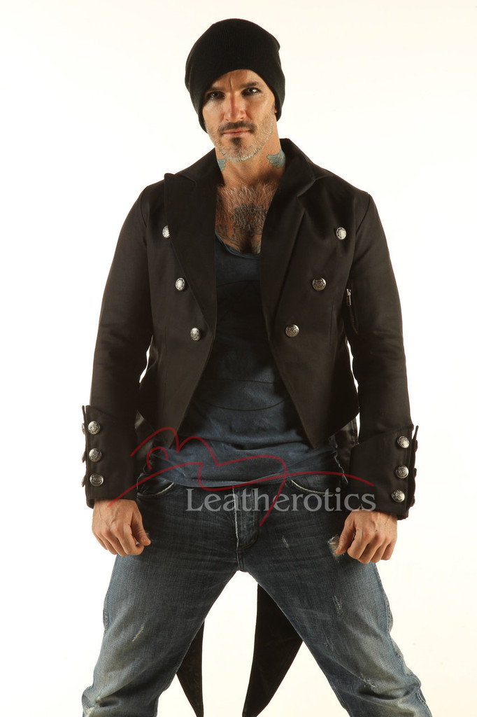 Men's Black Tailcoat Vintage top Gothic Steampunk Jacket