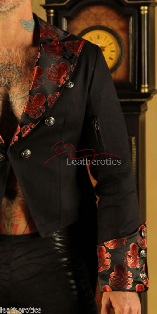Men's Cotton Tailcoat Wedding Red Steampunk Vintage Coat STPGR details