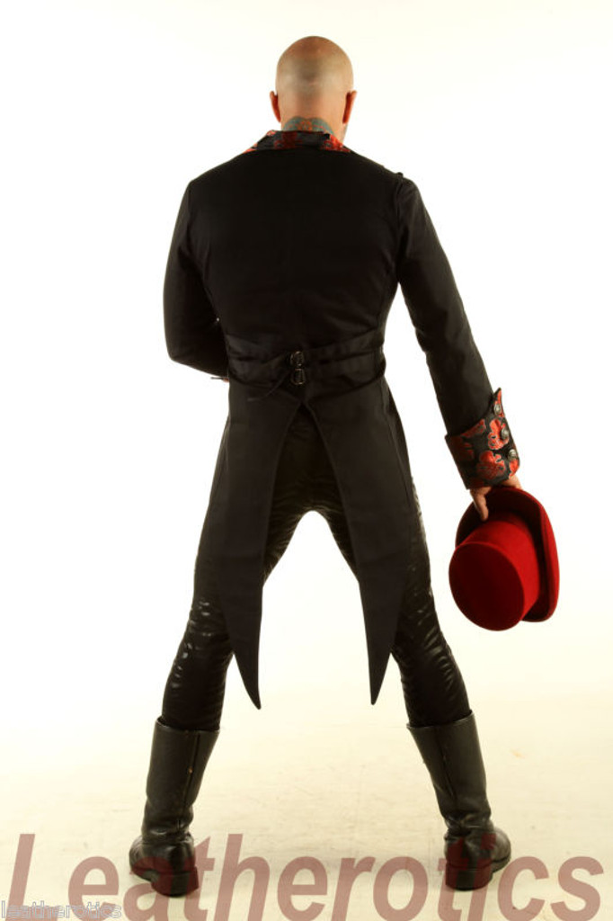Men's Cotton Tailcoat Wedding Red Steampunk Vintage Coat STPGR back